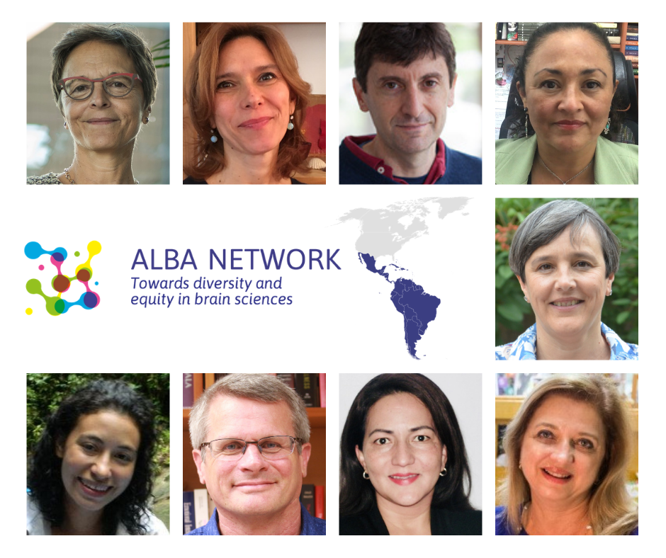 square image with all the panelist faces and the alba logo at the center